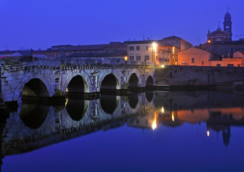 Rimini Ponte Tiberio by night copia