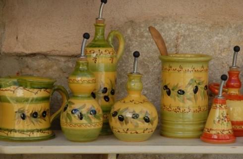Strillo boccette d'olio di oliva in ceramica