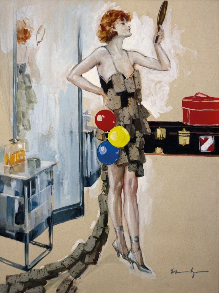 """Ehrenberger Lutz """"Donna con tre palloncini"""" tempera su carta 30x40 cm"""