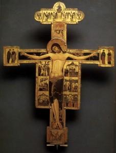 Maestro bizantino, crocifisso del Museo Nazionale di San Matteo, Pisa, 1230 circa, tavola sagomata