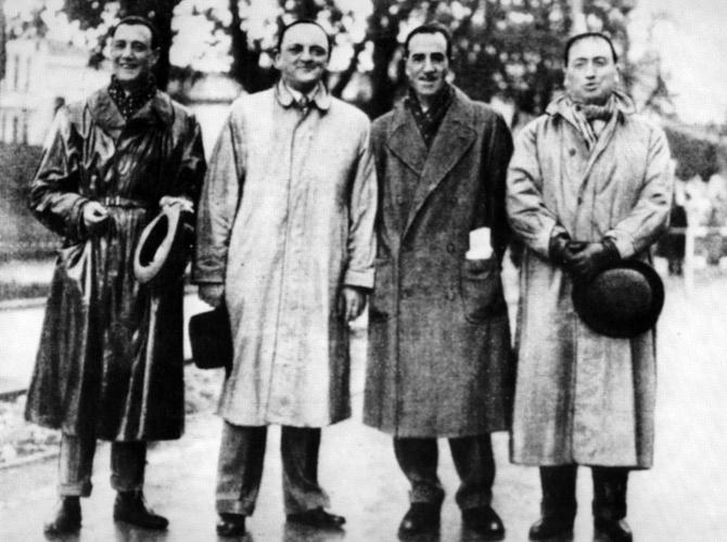 I fondatori della Mille Miglia (1927) - da sinistra: Aymo Maggi, Franco Mazzotti, Giovanni Canestrini e Renzo Castagneto